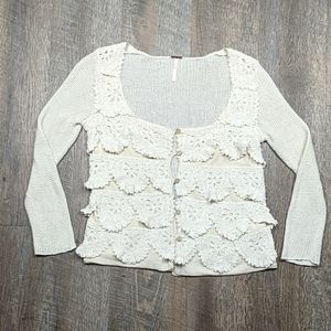 Free People Knit Crochet Scallop Button Up Top